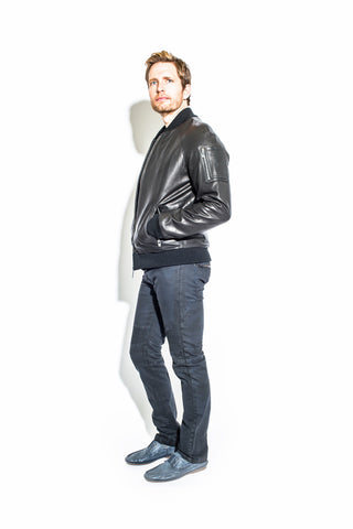 Men's Black Leather Baseball Jacket