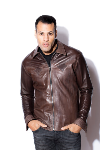 Men's West Coast Leather Fleur De Lys Shirt (Brown)