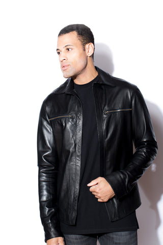 Men's Black Leather Shirt
