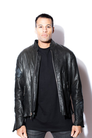 Men's Dark 8 Wool with Leather Angel Jacket