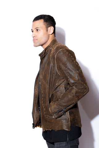 Brown Distressed Leather Jacket with Handlace Cross Stitching
