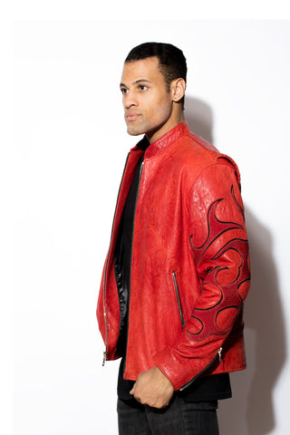 Men's Skull Terminator Stingray with Red washed lambskin racier zip front jacket
