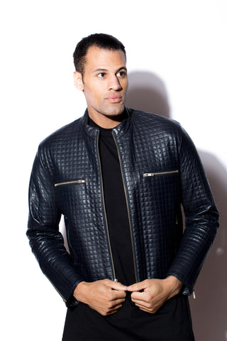 Men's West Coast Leather Quilted Navy Leather Jacket
