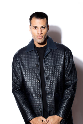 Men's West Coast leather Quilted Car Coat