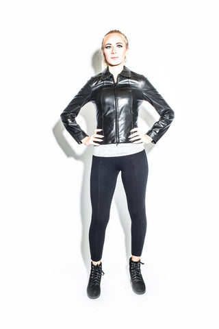 Women's Zip Front Sheath Leather Jacket