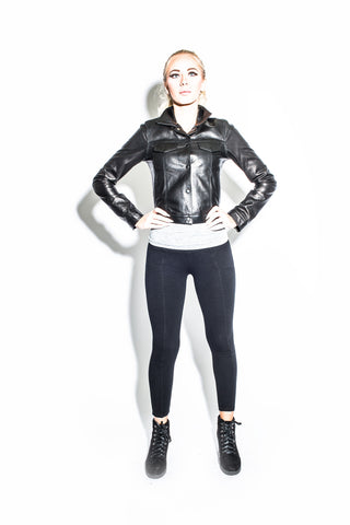 Women's Dark 8 Patchwork Leather Jacket