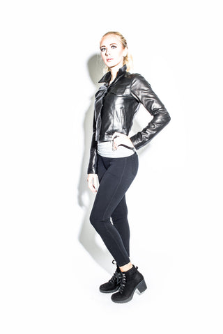 "Women's Black Label Short Leather ""Jean"" Jacket"
