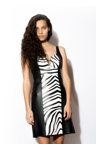 Women's West Coast Leather Zebra Tank Dress