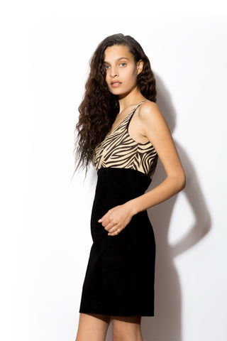 Women's Exotic Print Suede Tank Dress