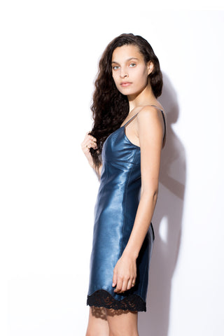 Women's West Coast Leather and Lace Dress