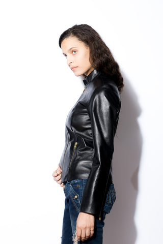Women's Stand Up Collar Jacket (Black with Gold Zippers)