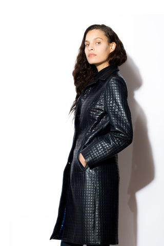 Women's Quilted Navy 7/8s Leather Coat