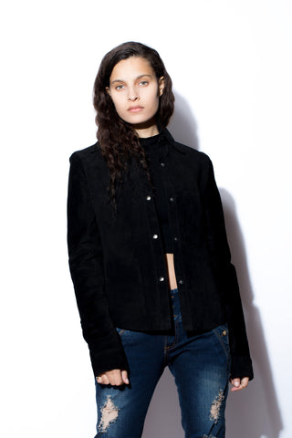 Women's Black Suede Snap Shirt