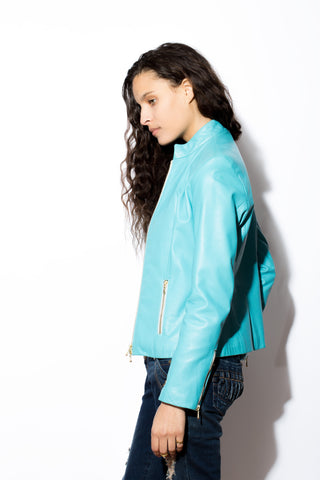 Women's West Coast Leather Front Zip Jacket (blue)