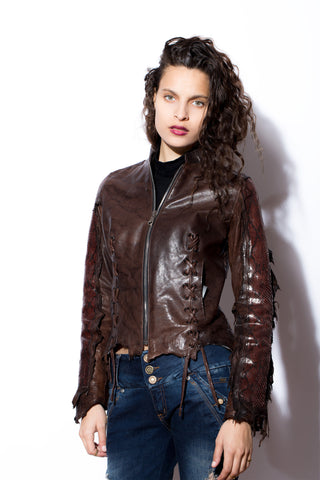 Women's Dark Brown Leather Jacket with Snakeskin Sleeves & Back