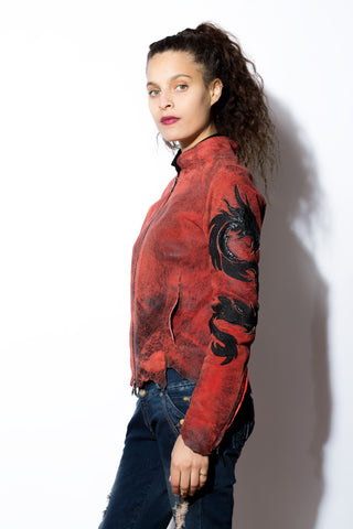 Women's Red Dragon zip Jacket with Exotic Inlays & Overlays