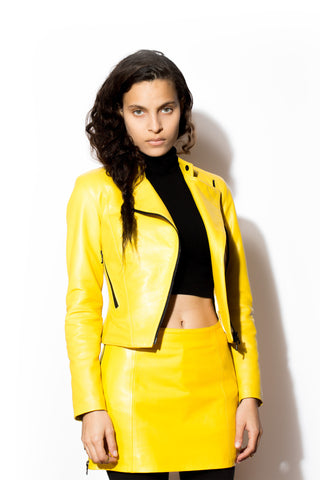 Women's West Coast Leather Asymmetric Motorcycle (Yellow)