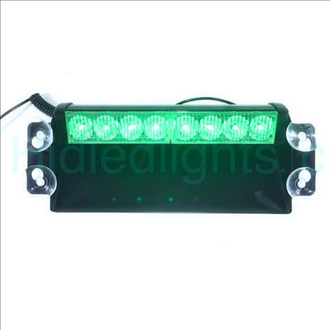 8 LED Dash Green Emergency Volunteer Firefighter Strobe Lights