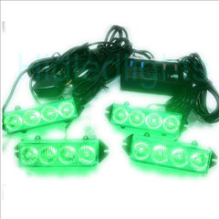 16 LED Grill Green Emergency Volunteer Firefighter Strobe Lights