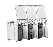 Triple Unit-hide three garbage bins, outddor shed for three cans, outdoor shed for three bins, outdoor cans enclosure, hide outddor garbage bins, garbage storage, idea to hide my outdoor cans