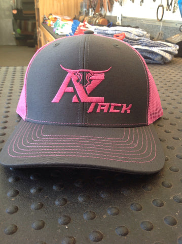 AZ Tack Mesh Back Richardson Cap Charcoal/Pink