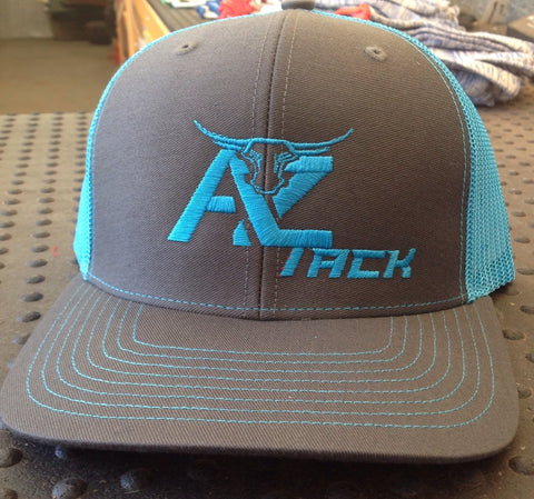 AZ Tack Mesh Back Richardson Cap Charcoal/Neon Blue