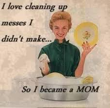 """I love cleaning up messes I didn't make, so I became a mom"" comic"
