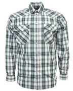 Bisley MENS BW S20 LS SHR TC WESTERN MED CHECK GREEN