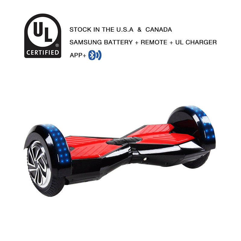 8 Inch APP Smart Balance wheel Bluetooth Black Hoverboard With LED On Wheels - Smart Balance Board