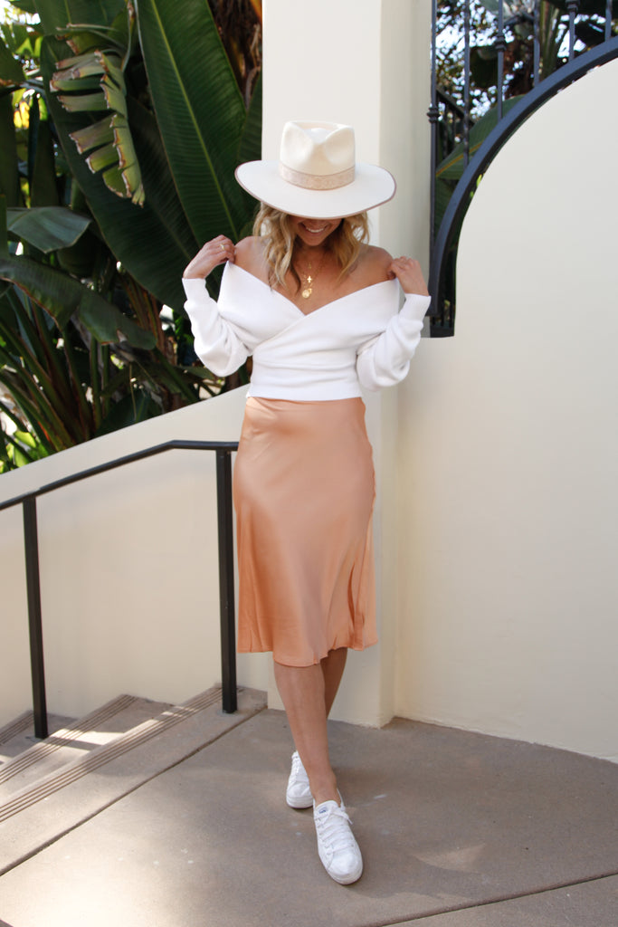 Shine Bright Satin Midi Skirt