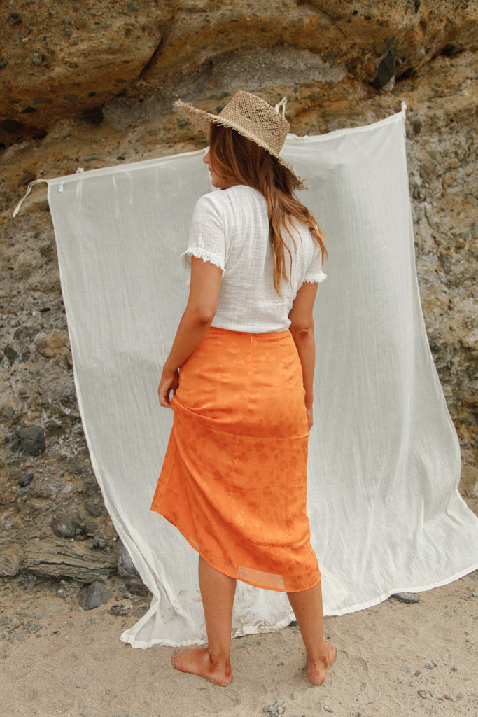 Orange Groves Midi Skirt