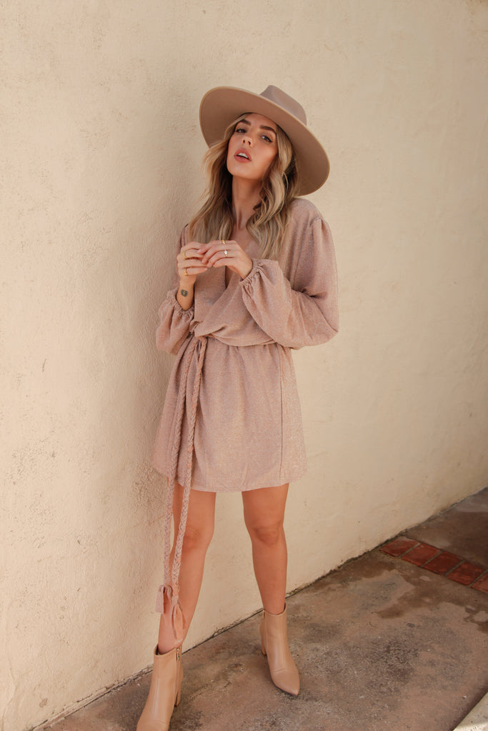 Giselle Nude Long Sleeve Dress