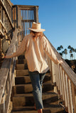 Sandy Linen Button Down Top