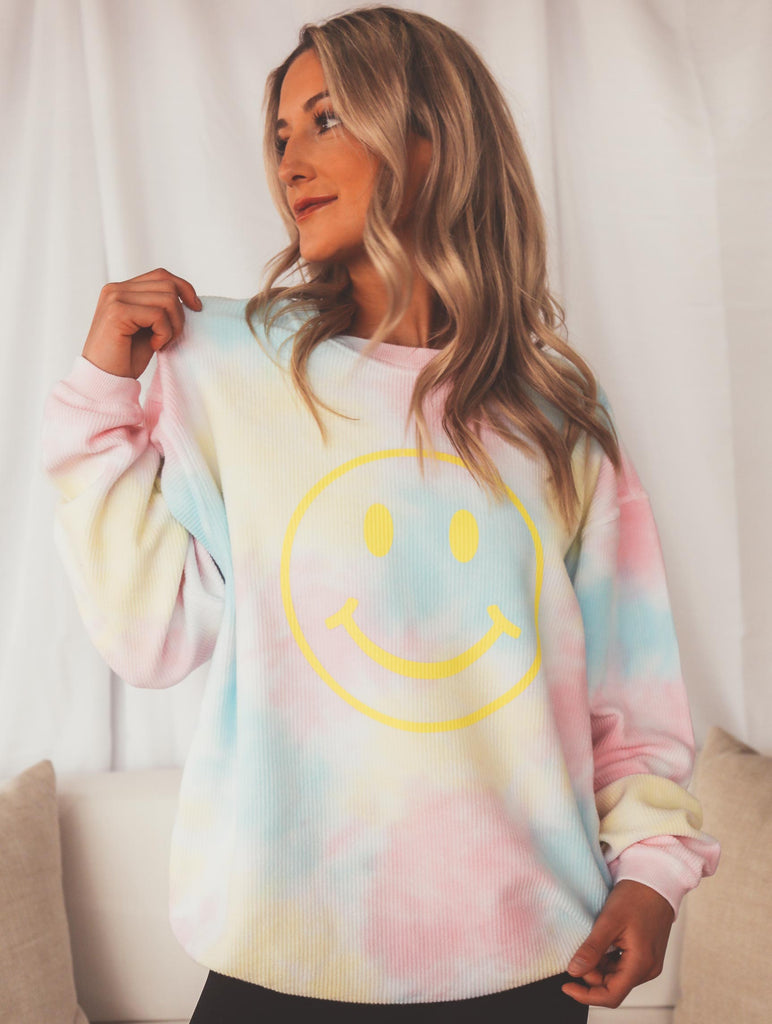 F+S: SMILEY TIE DYE SWEATSHIRT