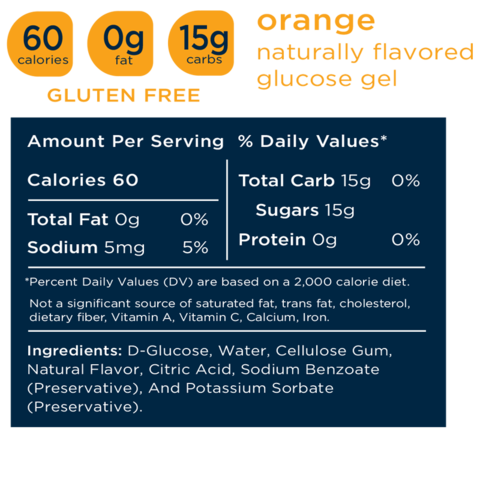 Transcend 15g Glucose Gel - Orange - 30 Pouches
