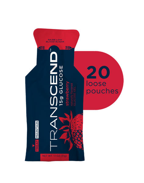 Transcend 15g Glucose Gel - Strawberry - 20 Pouches + Free Shipping