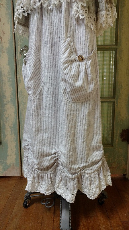 Big Pocket Petal Skirt Linen Lace Trim, USA