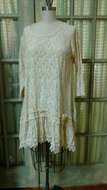 Nicole Top Cotton Lace, with Silk Batiste Skirt, Tea Stain, USA