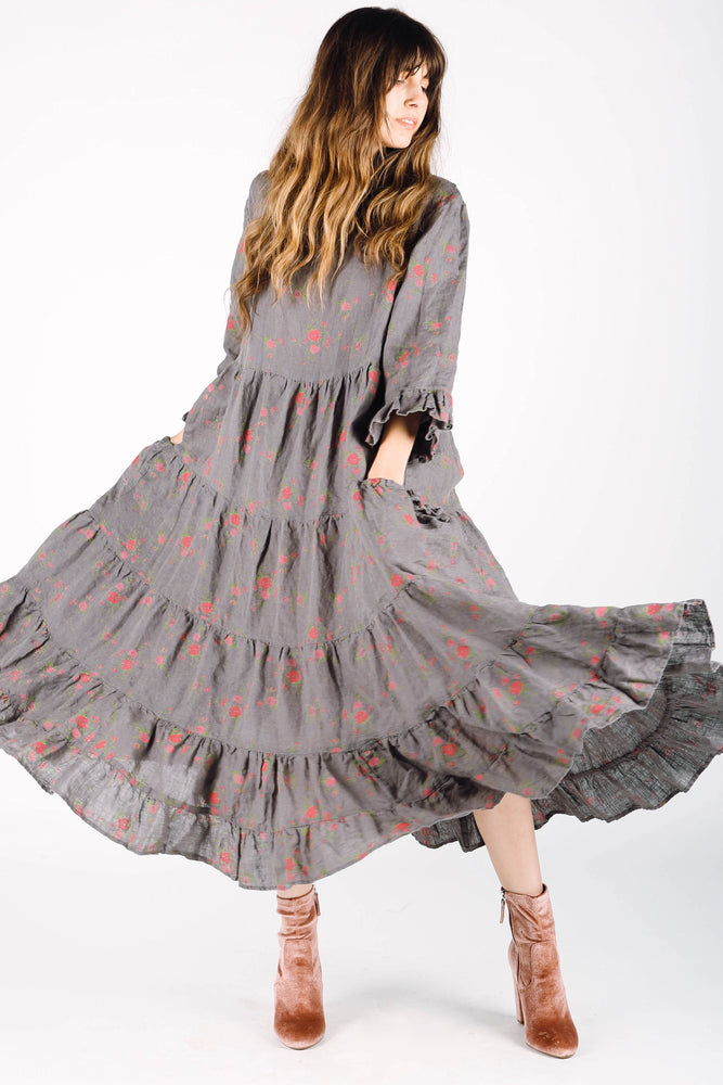 Boho linen dress with ruffles and long sleeves