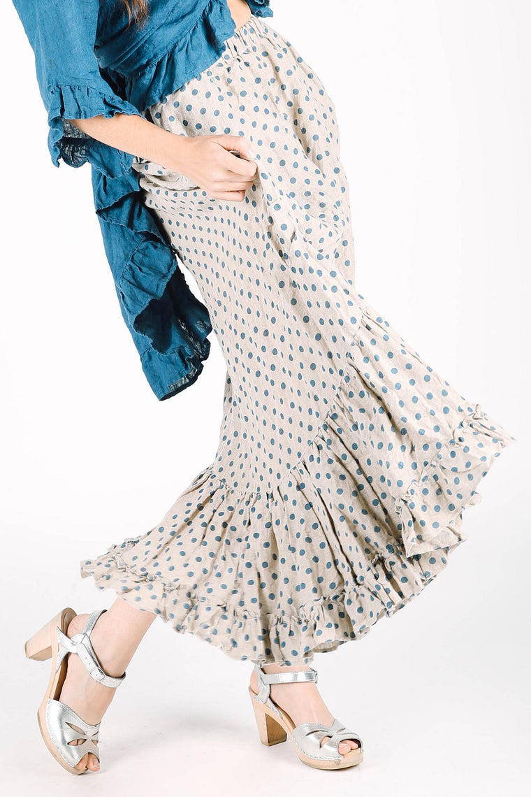 Belinda Skirt in Polka Dot Linen, HD-018