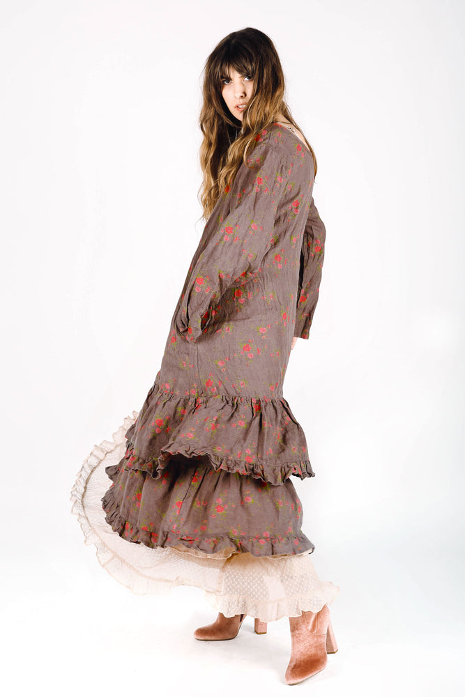 Brown bohemian linen dress with floral print