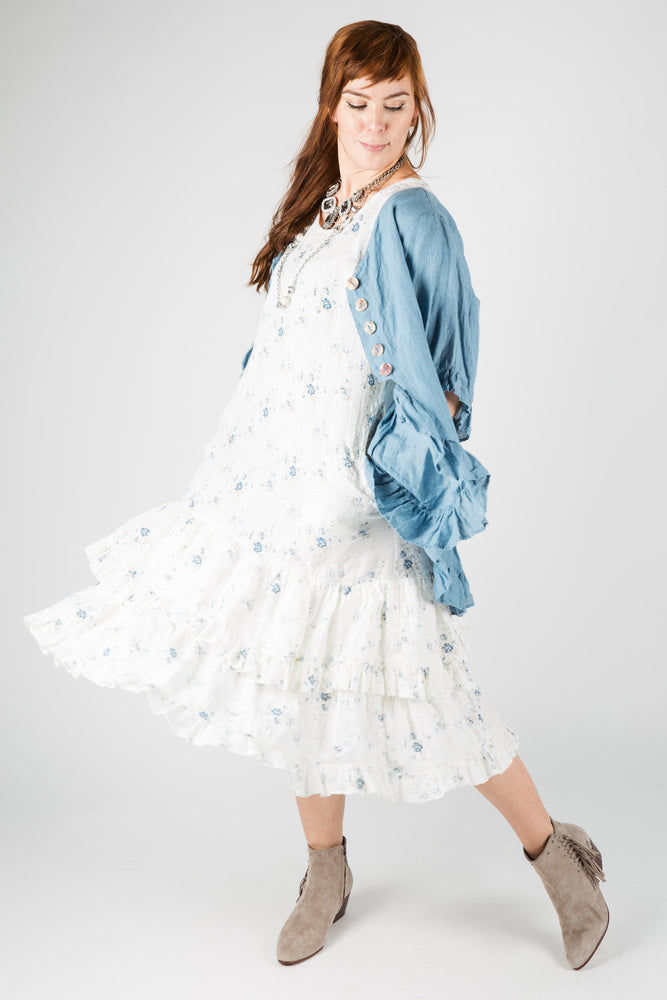 Shabby chic white linen dress with blue floral print
