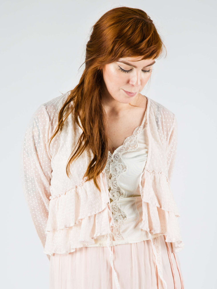 Ruffle Jacket Pink Cotton Net