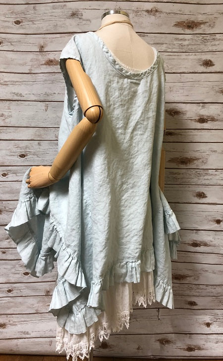 Flutter Top with Cap Sleeves in Linen