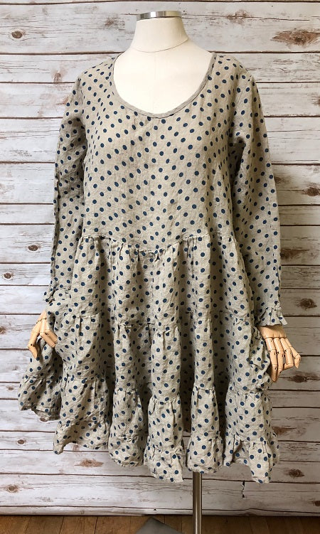 Annie Dress in Linen Polka Dot, HD-026