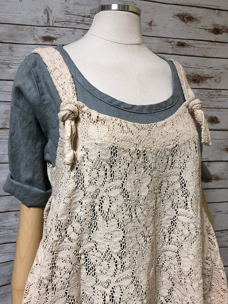 Knot Top Cotton Lace Vest