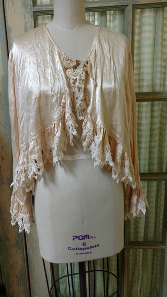 Bed Jacket Lace Trim Satin Tea Stain, USA