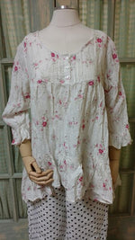 Rebecca Top Long Sleeve in Floral Linen, HD-029 LS