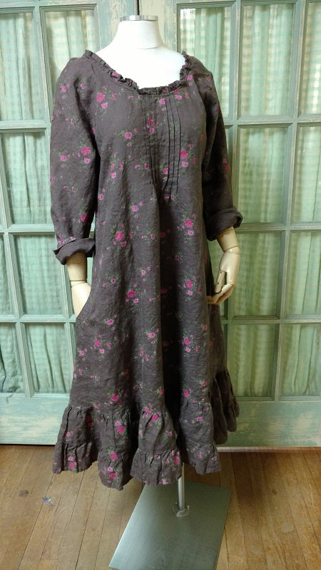 Ella Dress Brown Floral, HD-008 BF