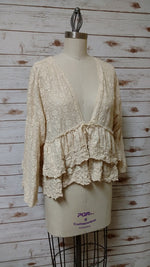 Ruffle Jacket India Lace Tea Stain, USA